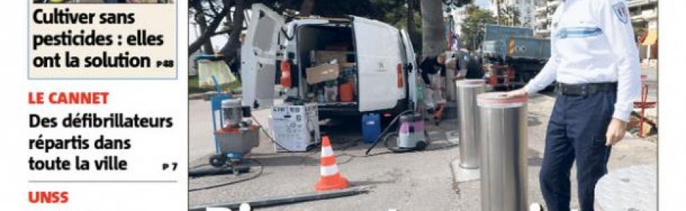 Break into Nice-Matin : CAME URBACO bollards currently being installed in Croisette of Cannes