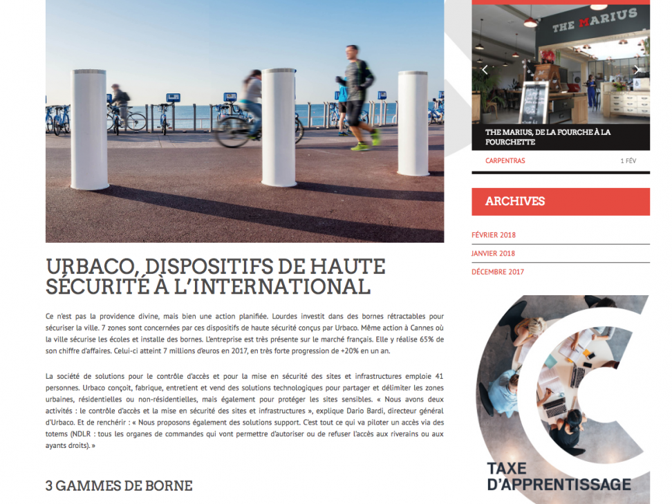 """Came Urbaco, International high security solutions"", Dynamiques Vaucluse Press article"